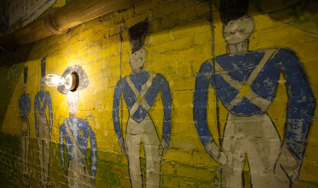 Soldiers painted on the walls of Biltmore's Halloween Room