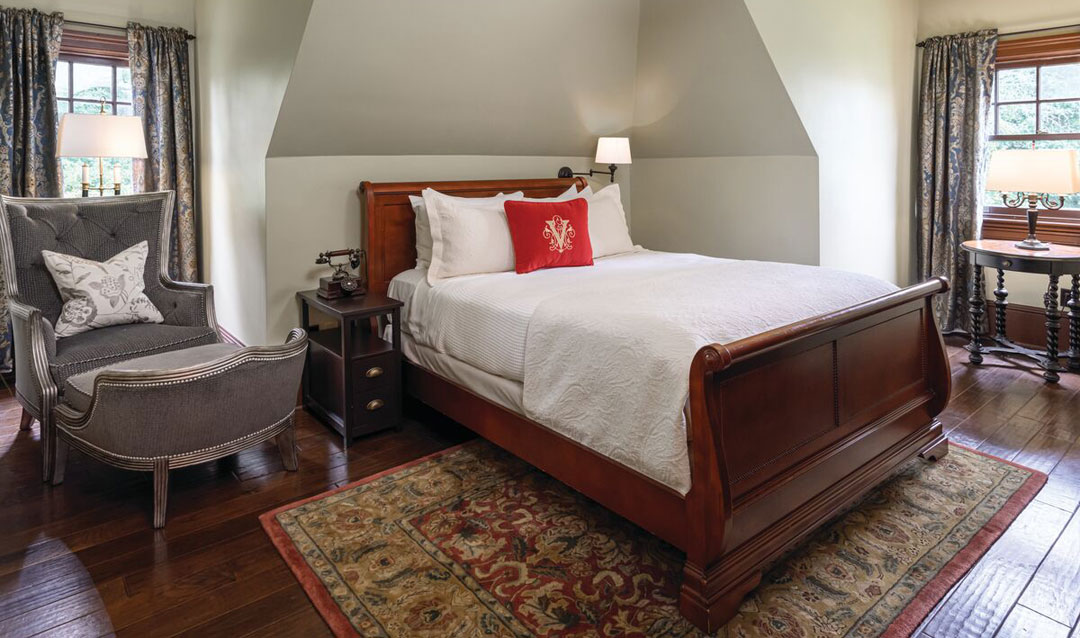 One of two bedrooms in the Market Gardener's Cottage