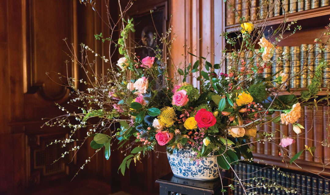 Spring centerpiece in the Library at Biltmore House