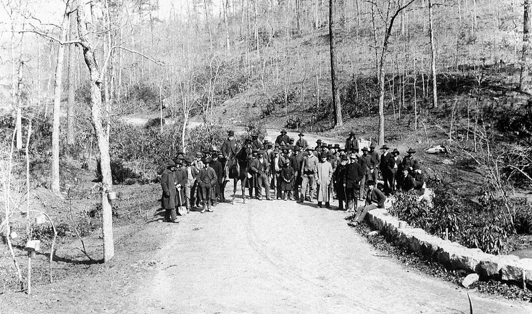 Archival photo of workers on the Approach Road to Biltmore House