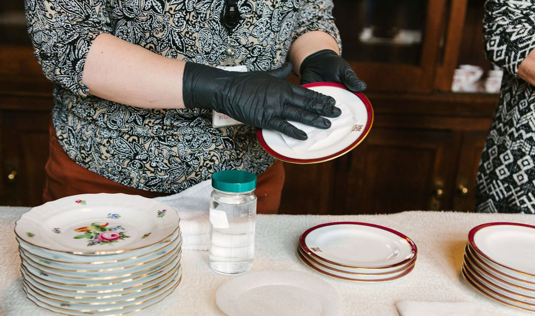 Cleaning generations of Biltmore china and crystal