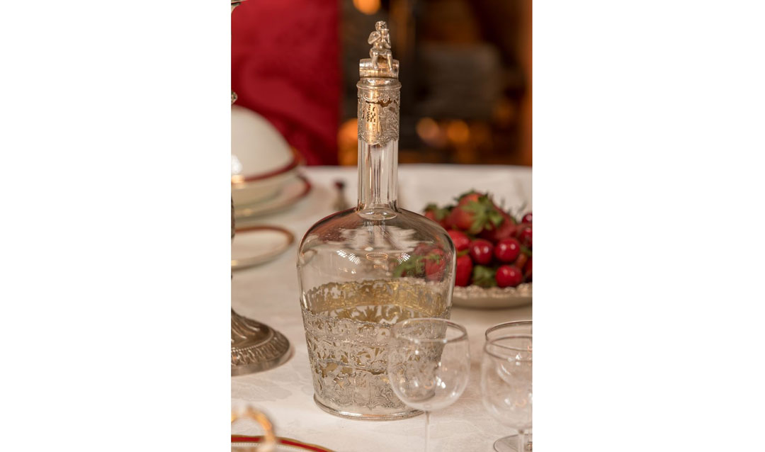 Glass and silver wine decanter