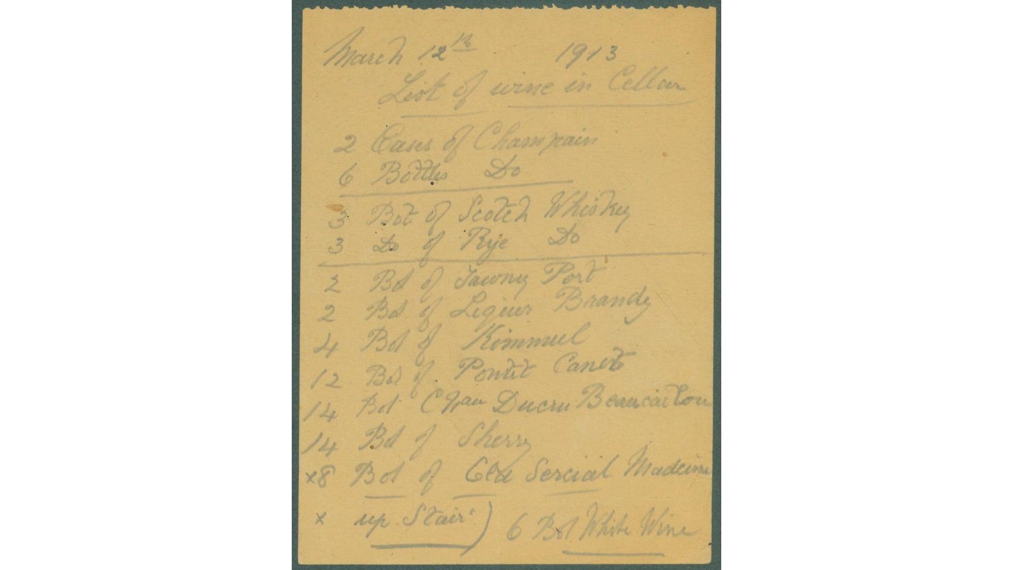 Archival list of wines in Biltmore's wine cellar