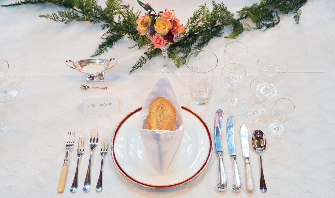 Formal place setting on the Banquet Hall Table in Biltmore House