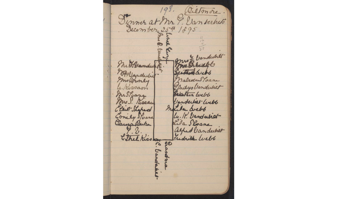 Seating chart drawn by Gertrude Vanderbilt Whitney in 1895