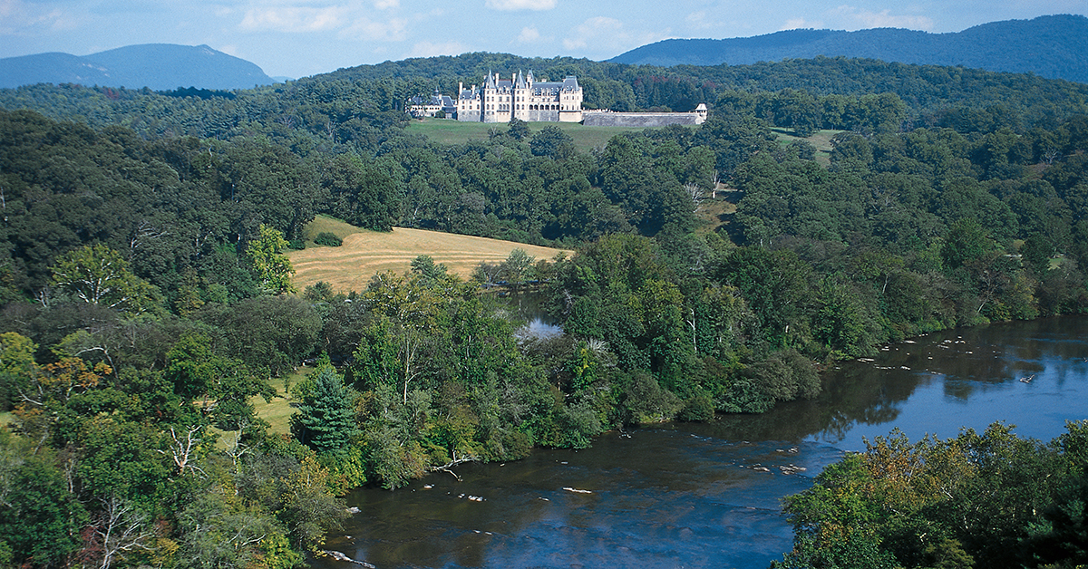 Biltmore House and the French Broad River in Asheville, NC, make a perfect movie location