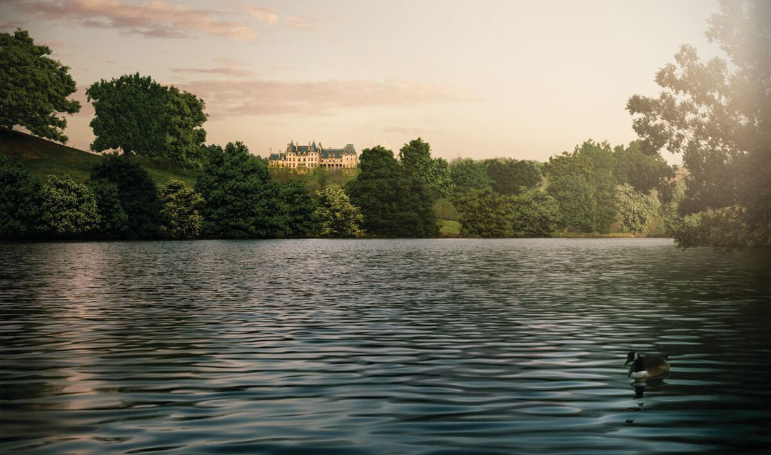 Olmsted designed this lagoon to reflect Biltmore House