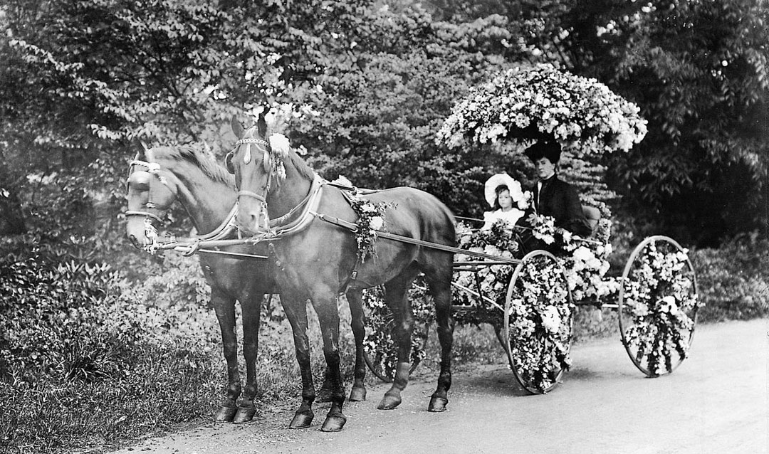 Cornelia and Edith Vanderbilt in a flower-covered carriage, 1905