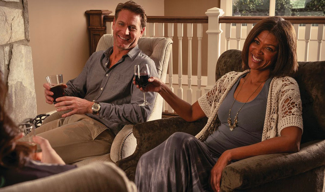Couple drinking Biltmore wine while they savor in place