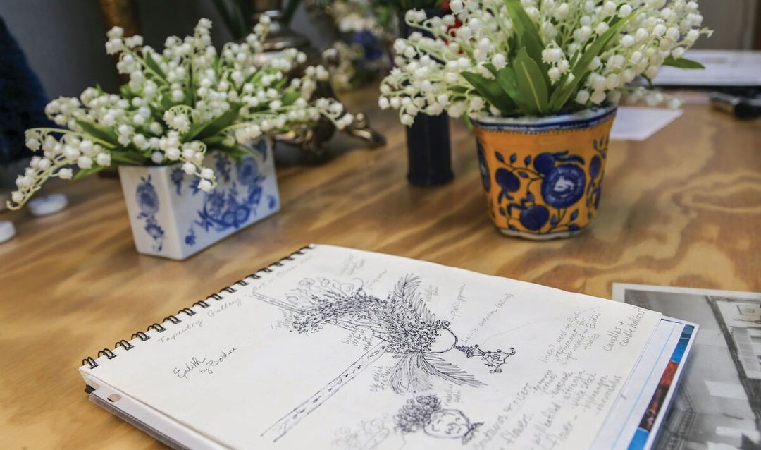 Lily of the valley with a sketch for a Biltmore Blooms design