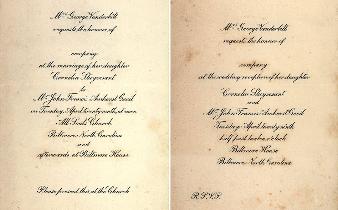 Cornelia Vanerbilt's Wedding Invitations