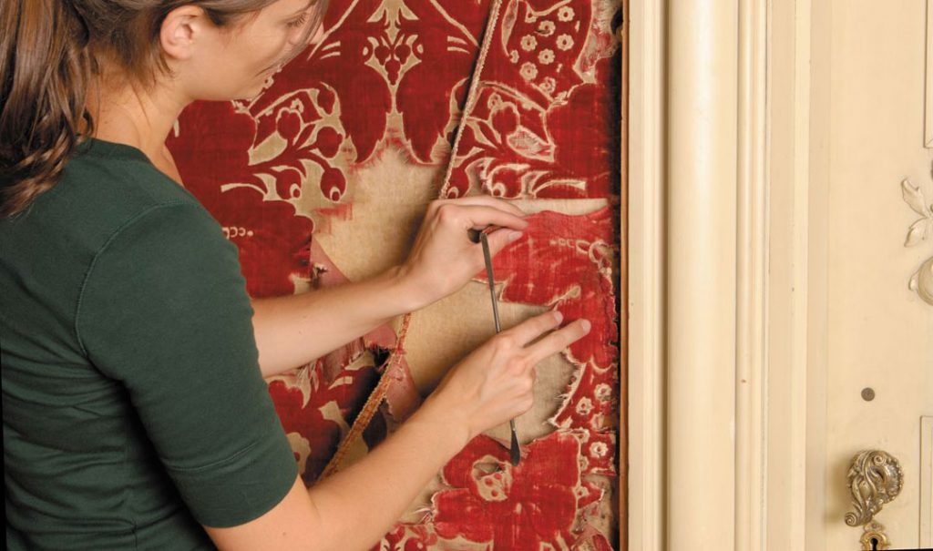 Restoring the wallcovering of the Louis XV Room in Biltmore House
