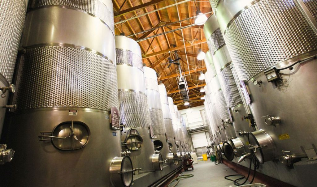Steel tanks for aging Biltmore wines