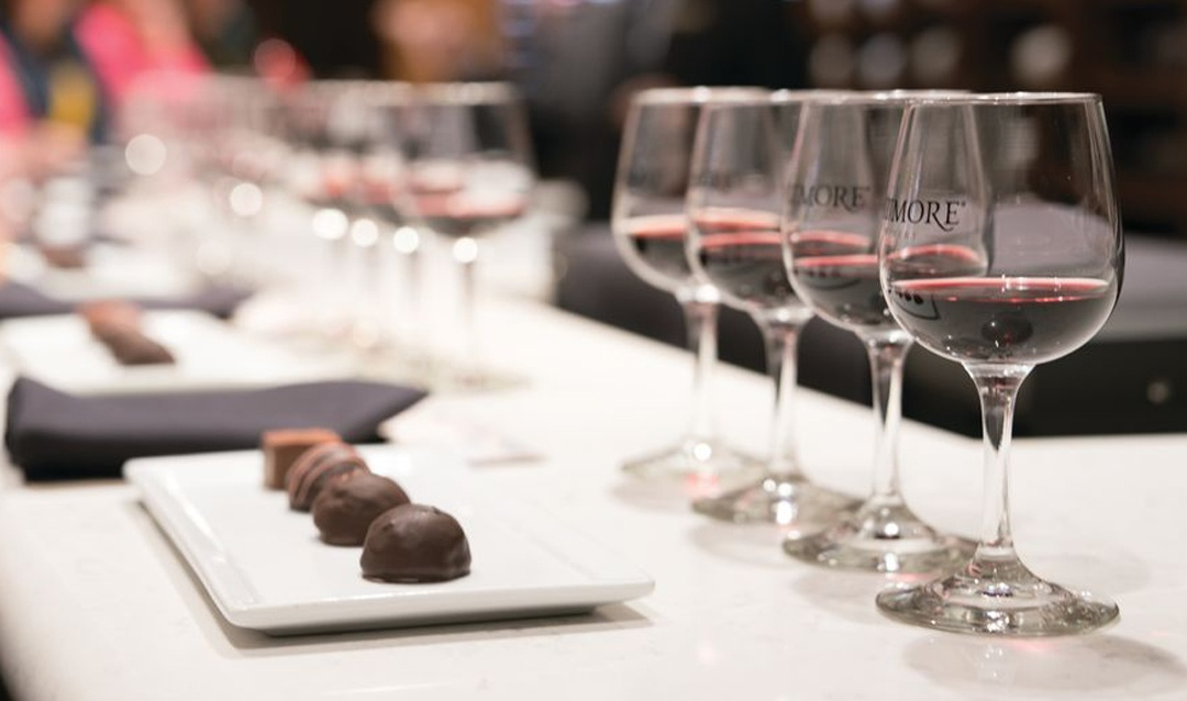 Biltmore Red Wine & Chocolate tasting setup