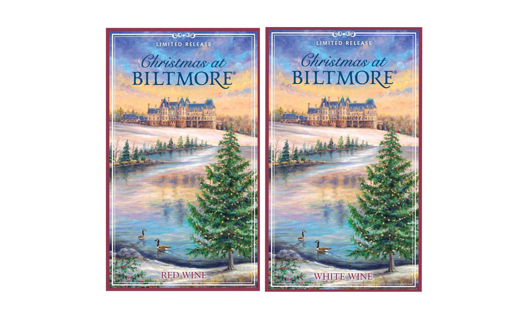 2019 Christmas at Biltmore Red and White Wine labels