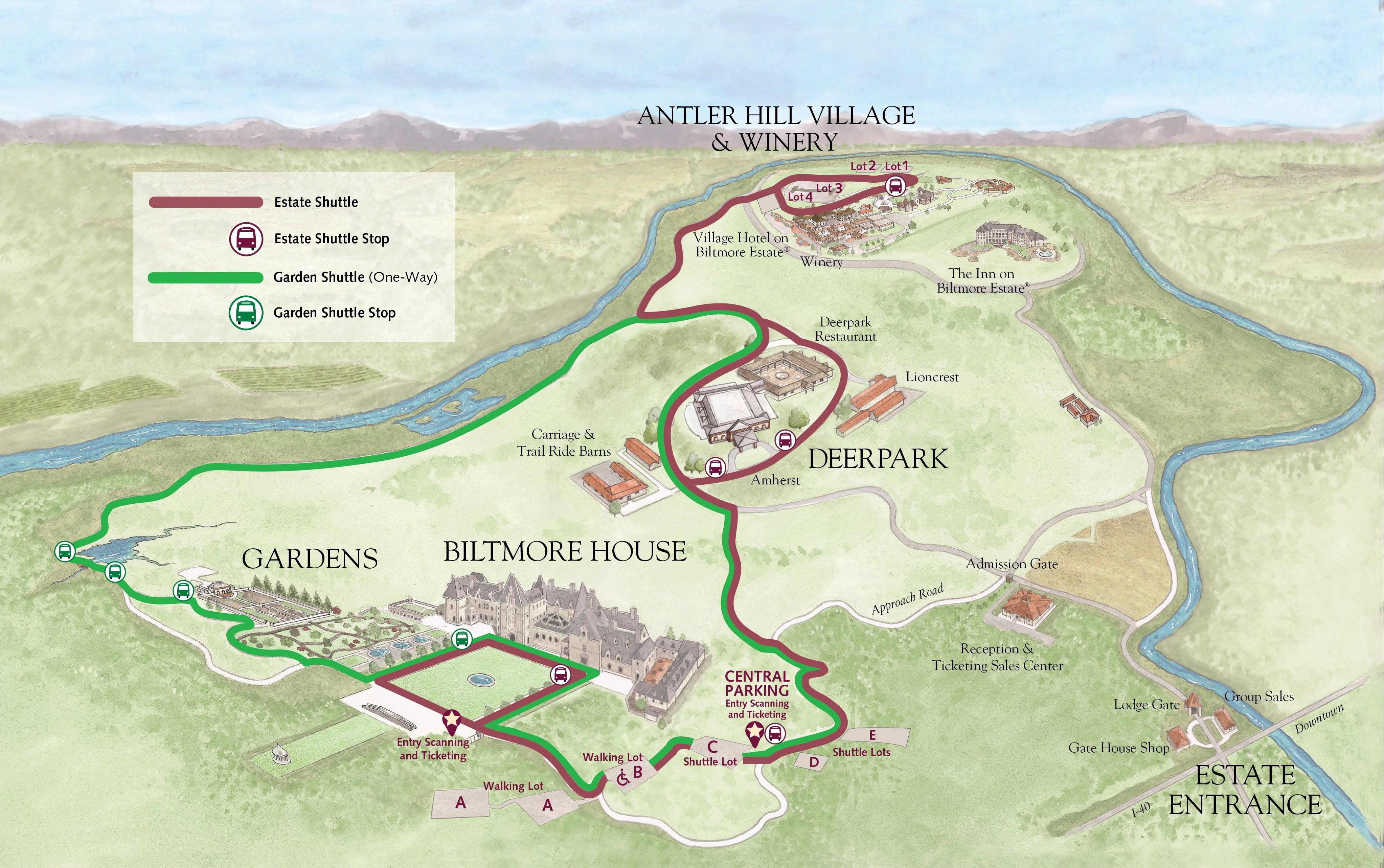 Shuttle Map for Biltmore Estate
