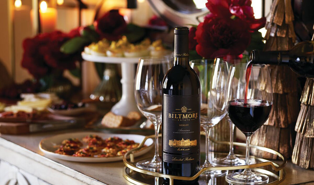 Biltmore Estate Limited Release Merlot on a holiday table