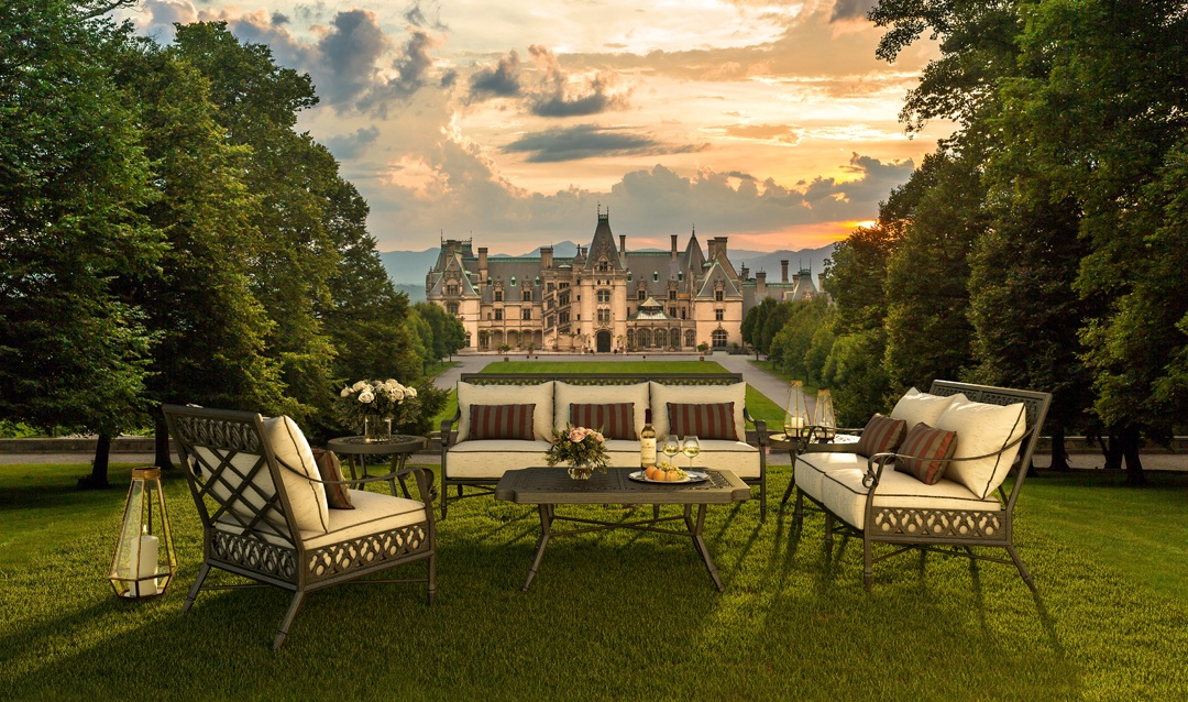 Outdoor furniture in front of Biltmore House