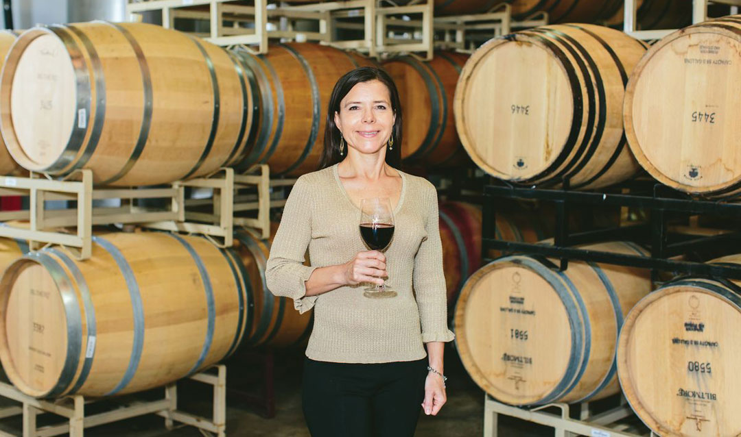 Biltmore winemaker Sharon Fenchak in the Barrel Room at the Winery