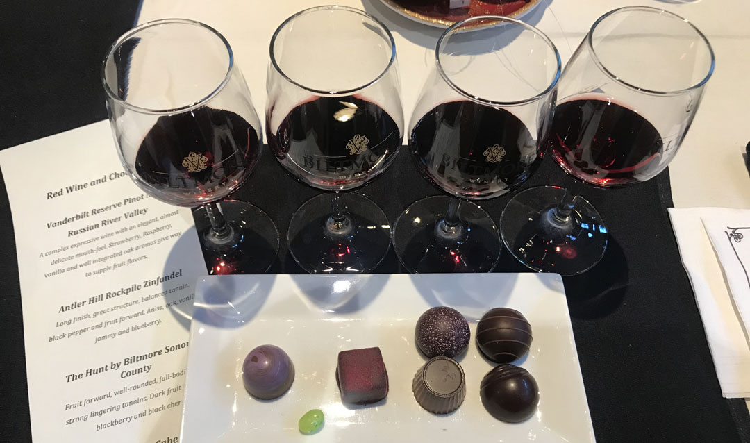 Biltmore red wines and chocolates