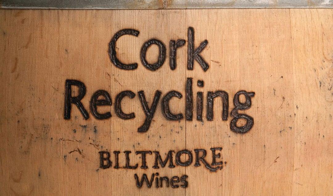 Cork recycling barrel at Biltmore