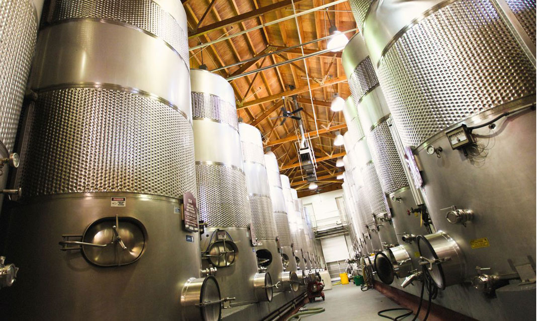 Steel tanks in Biltmore's working winery