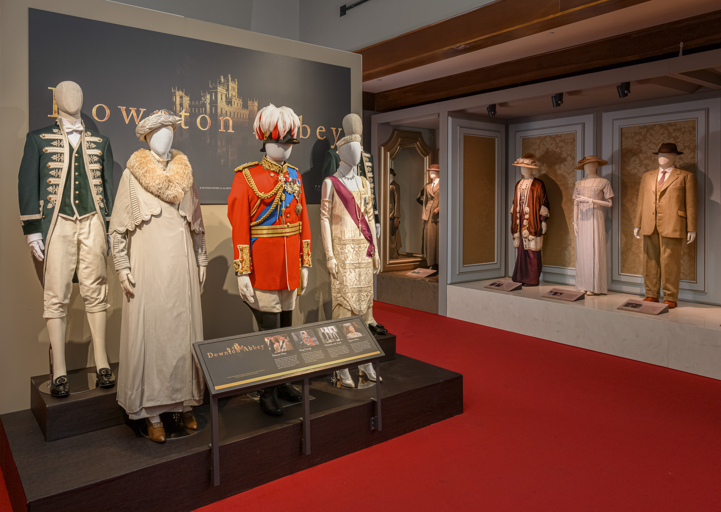 Costumes inside Downton Abbey: The Exhibition