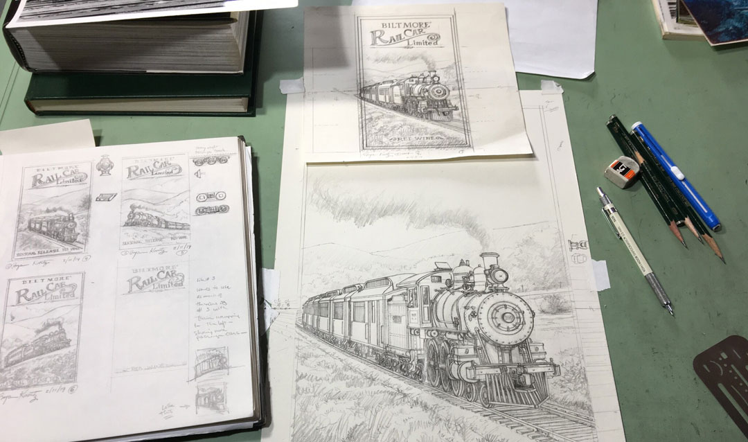 Sketches for The Railcar label