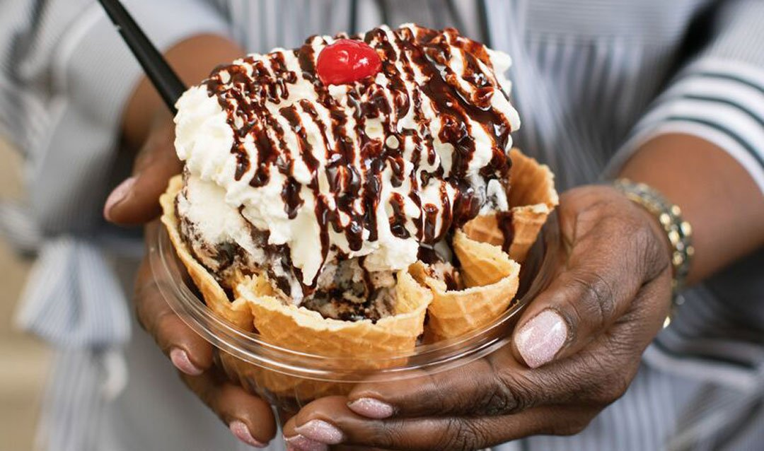 Winkie Bar Sundae in a waffle bowl