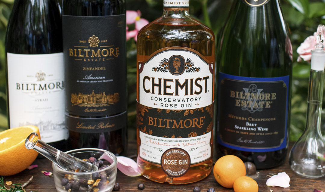 Create cocktail chemistry with Biltmore Conservatory Rose Gin