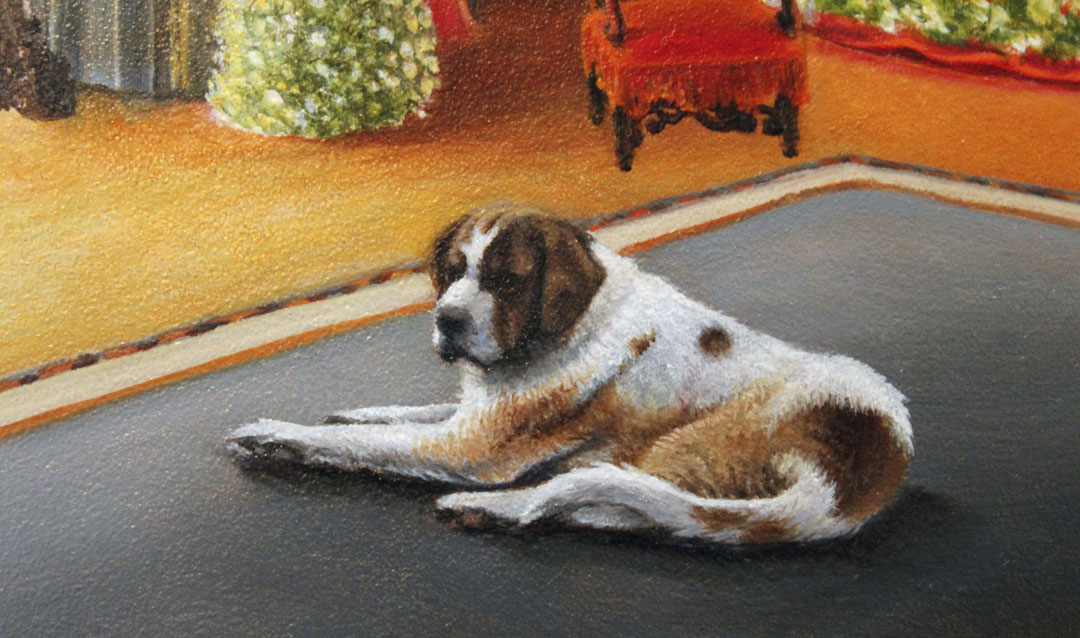Detail of Cedric the St. Bernard for our 2020 Christmas at Biltmore Red Wine label