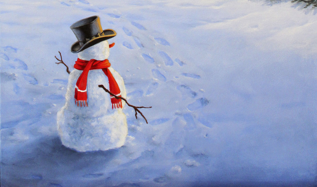 Fans choose themes like this snowman for our 2020 Christmas Wine labels