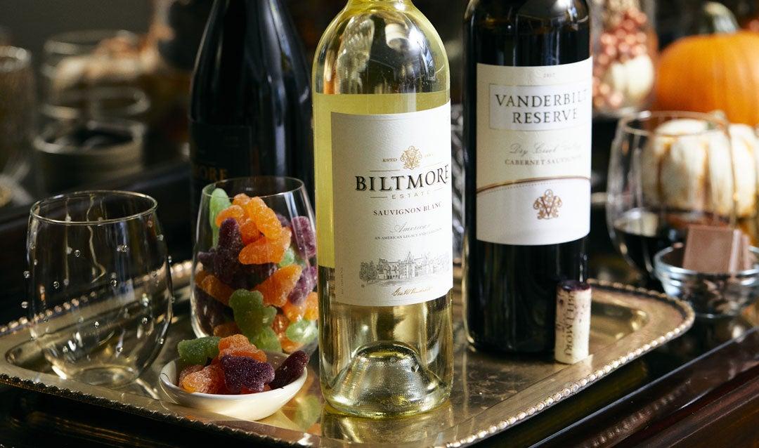 Biltmore Estate Sauvignon Blanc with Halloween candy