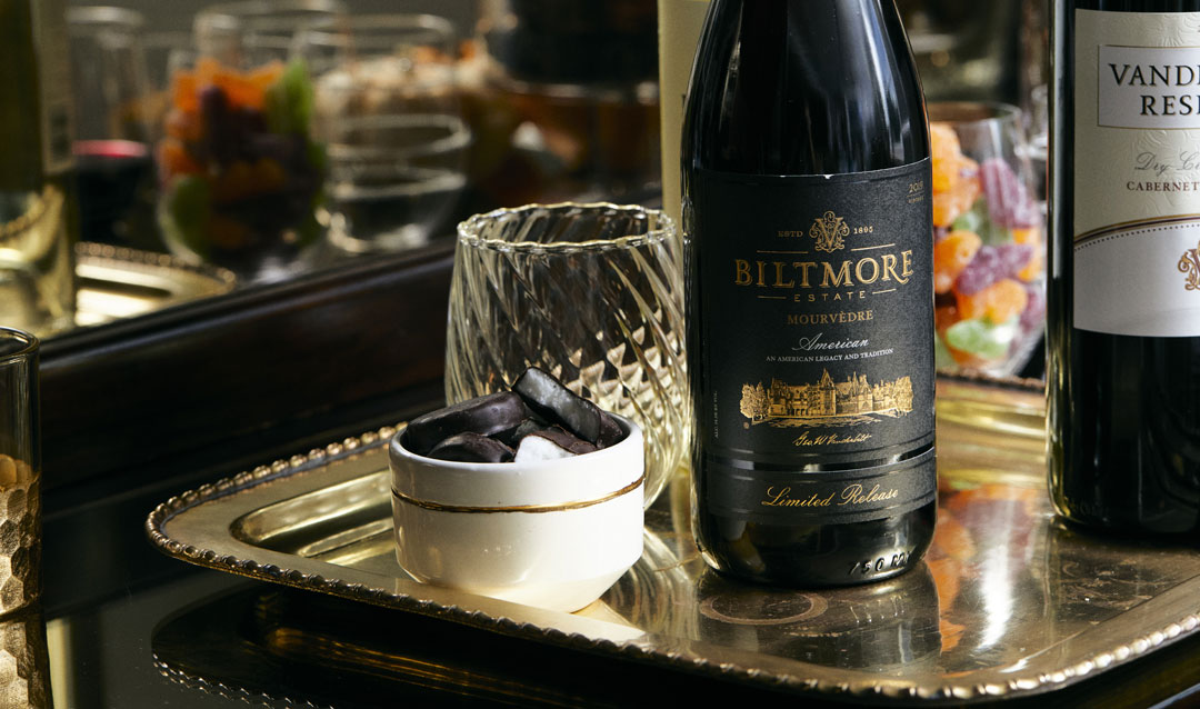Biltmore Estate Limited Release Mourvedre with peppermint patty candies