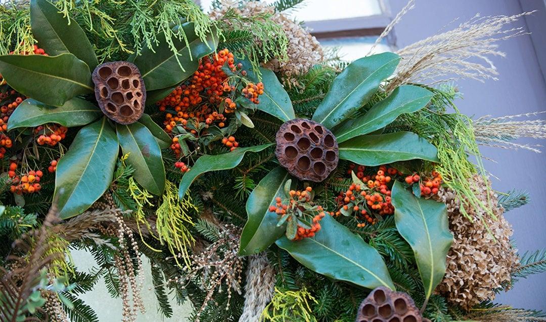 Detail shot of unique Christmas wreath
