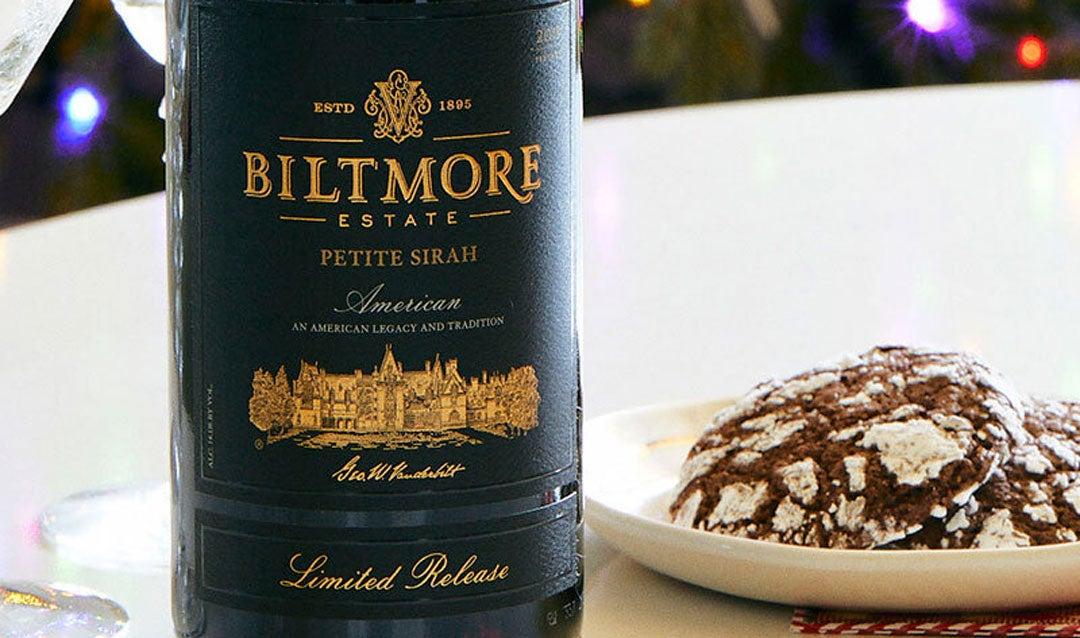 Pair Biltmore wine and fudgy chocolate crinkle cookies