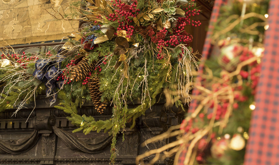 Celebrate Biltmore's Tree-Raising Tradition Virtually with beautiful natural details like berries and greenery