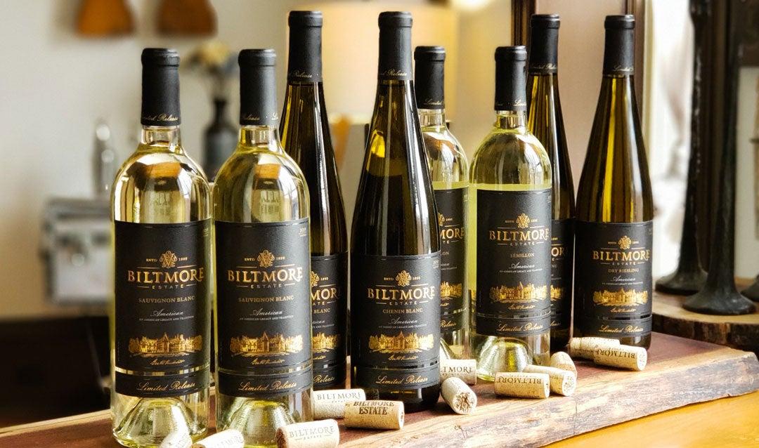 Bottles of Biltmore white wines
