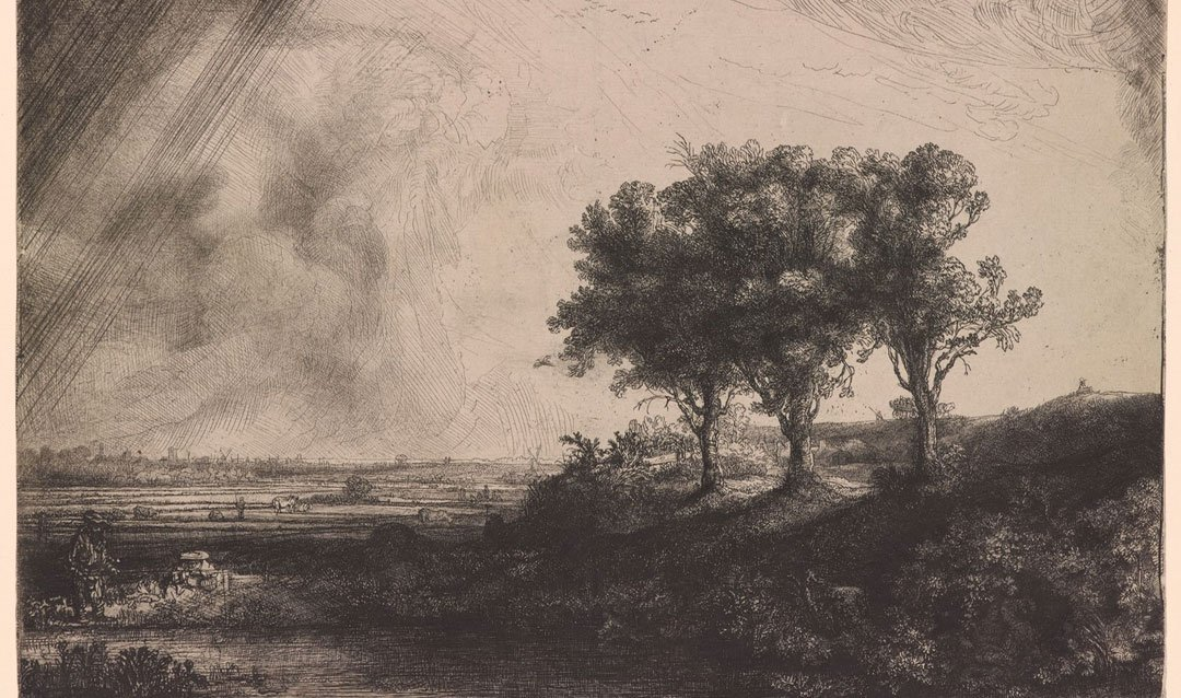 Reproduction from the Morgan Library of a Rembrandt landscape etching for the Oak Sitting Room