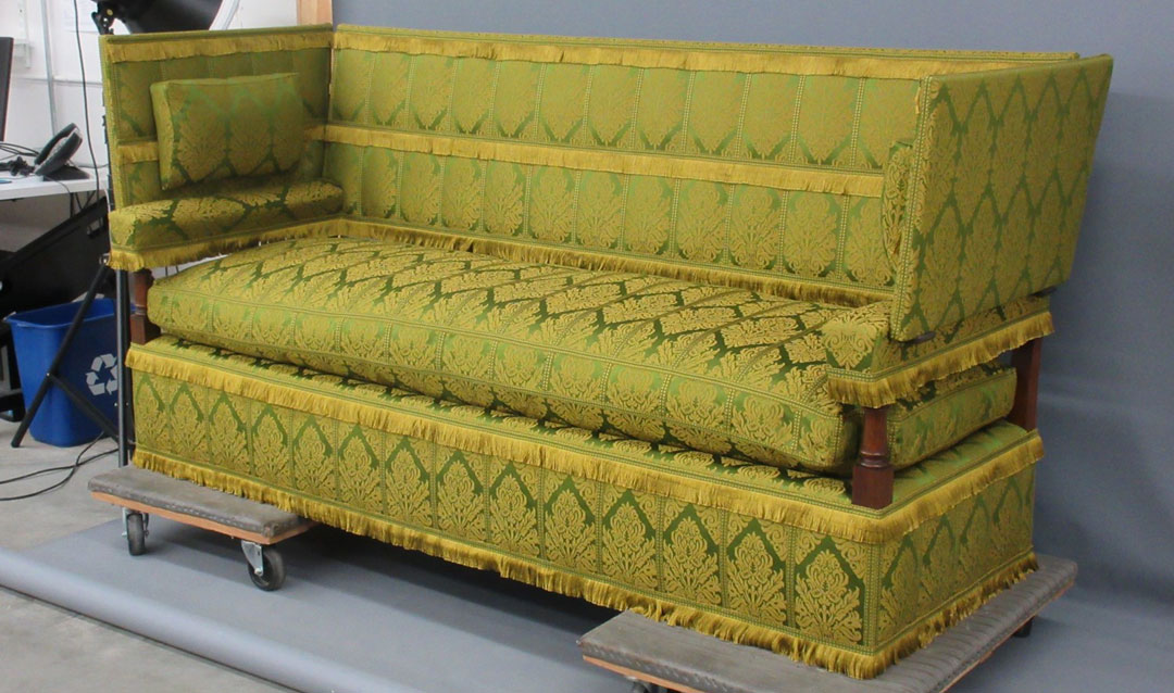 Green settee for the Oak Sitting Room