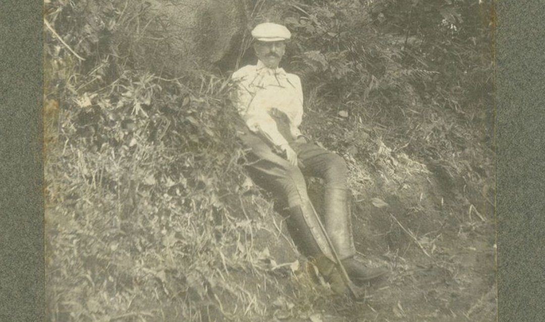 George Vanderbilt relaxing during a hike in Pisgah Forest, ca. 1901