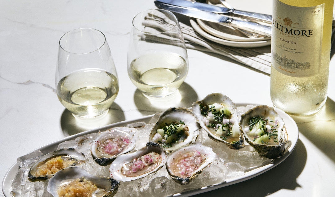 Biltmore Estate Albariño with oysters on the half shell