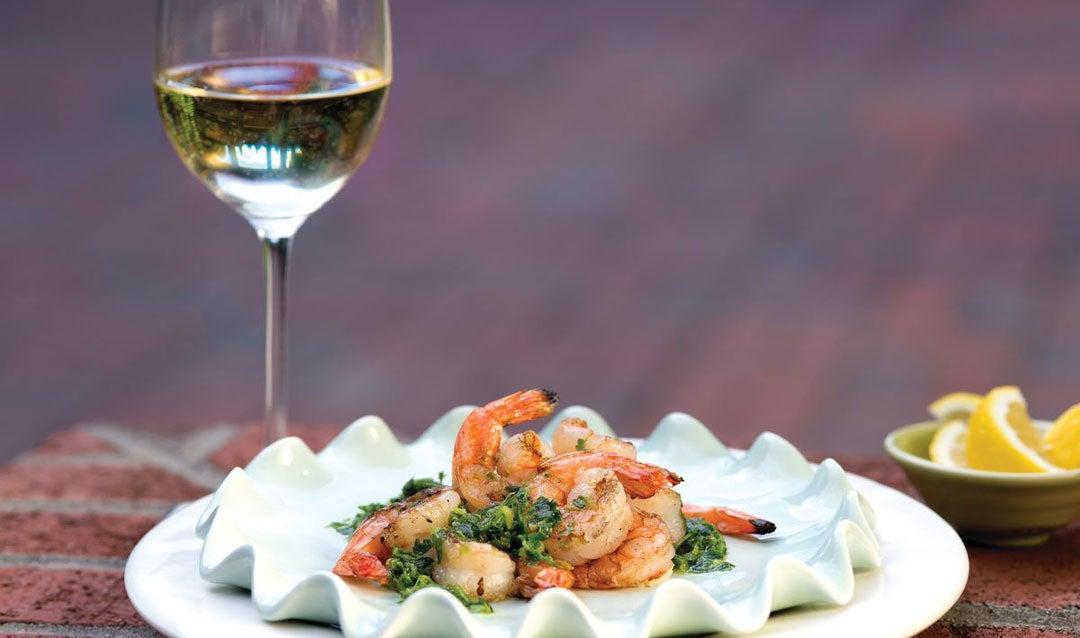 Biltmore Estate white wine with pesto shrimp