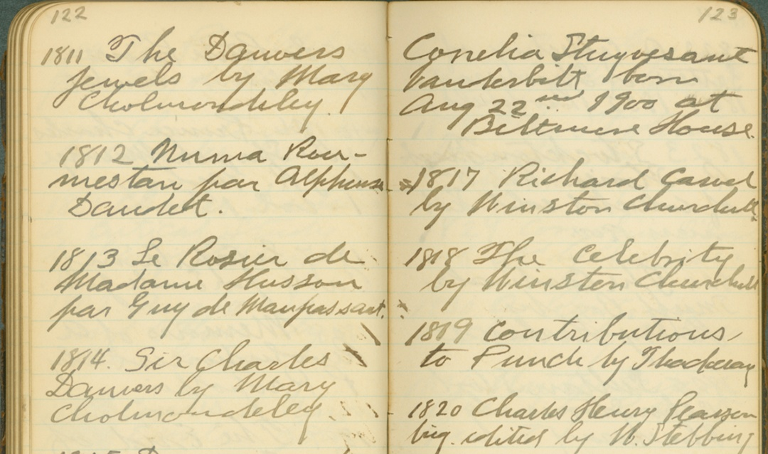 """An excerpt from one of the """"Books I Have Read"""" journals with a note on the birth of George Vanderbilt's daughter"""