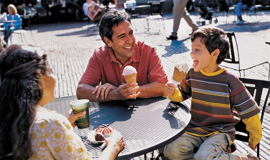 Family enjoying ice cream and treats at Biltmore