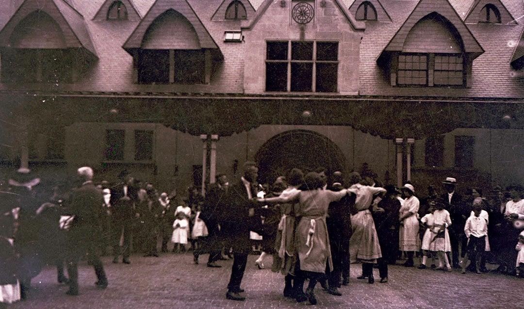 Employees gathered to celebrate Cornelia Vanderbilt's 21st birthday, August 1921