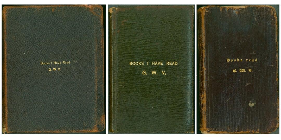 "Three volumes of George Vanderbilt's ""Books I Have Read"" journal series"