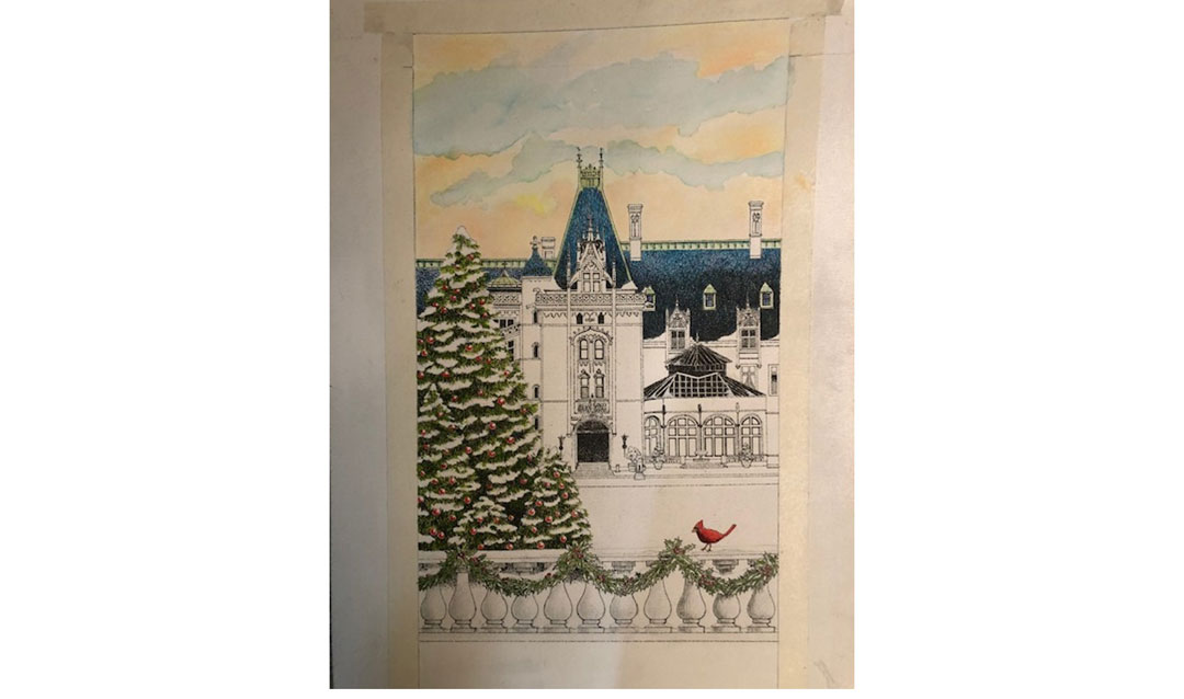 Exterior pencil sketch of Biltmore House with touches of watercolor