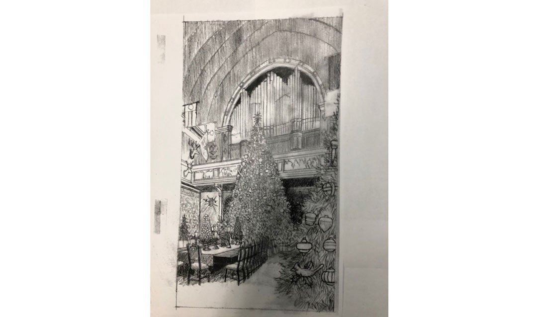 Pencil sketch for Biltmore Christmas wine label