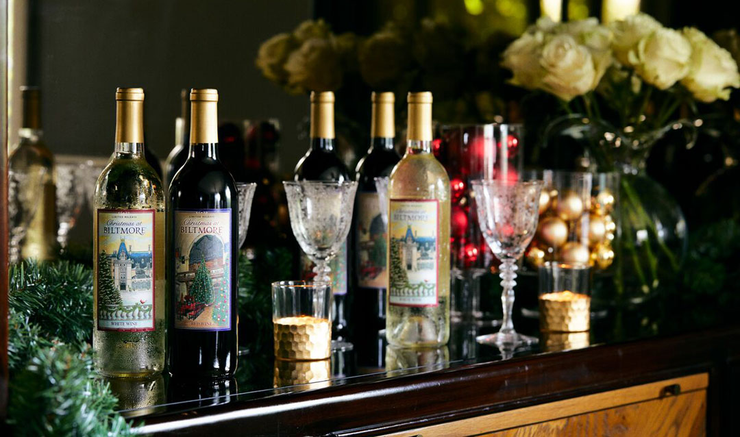 Christmas at Biltmore Red and White Wines with Facebook fans labels